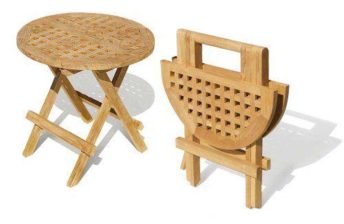 Folding Picnic Round Table - A- Grade Teak Folding Garden Coffee Table -  Jati Brand
