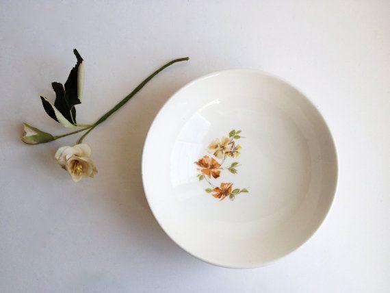2 soup bowls, MAYFAIR midcentury modern floral dinnerware set, Royal China ironstone bowls, retro orange brown green berry salad bowls 1950s...