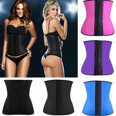 Steel bone waist training corset 100% latex , waist cincher slimming shapewear bodysuit
