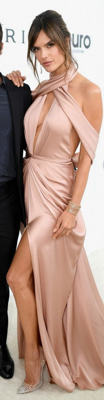 Who made  Alessandra Ambrosio's tan gown and crystal nude mesh pumps?