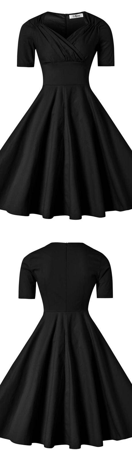 Black V-neck Solid Mid-Length Vintage Cocktail Dress for Women vintage,vintage style dress,vinatge fashion,vntage dress,50s dress,50s fashion,50s style dress,balck dress,retro dress,retro style dress