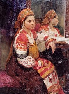 Alexander Kosnichev  - The girl sitting at a mirror, in an ancient Russian national suit of the Tver area: