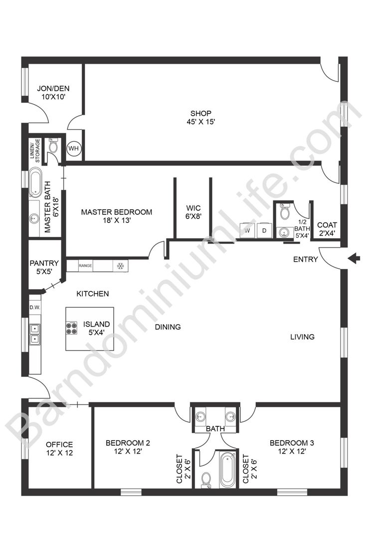 Inspiring Open Concept Barndominium Floor Plans in 2020