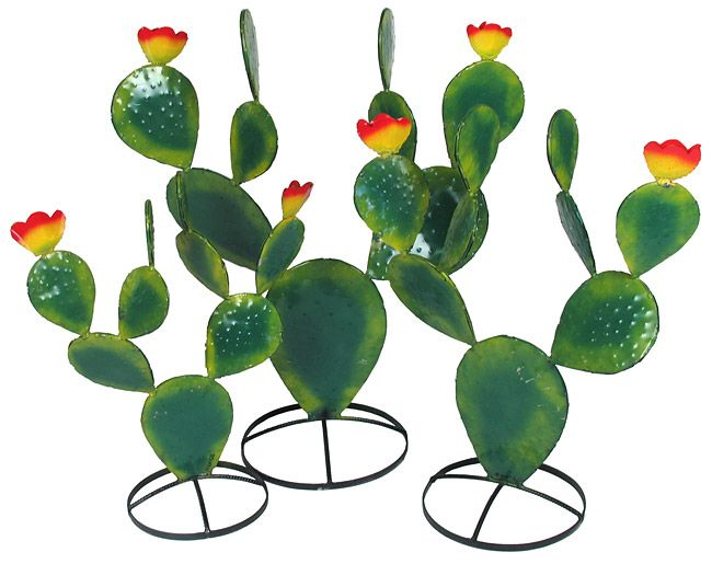 Metal Prickly Pear Cactus Sculptures from Mexico. Three sizes available.