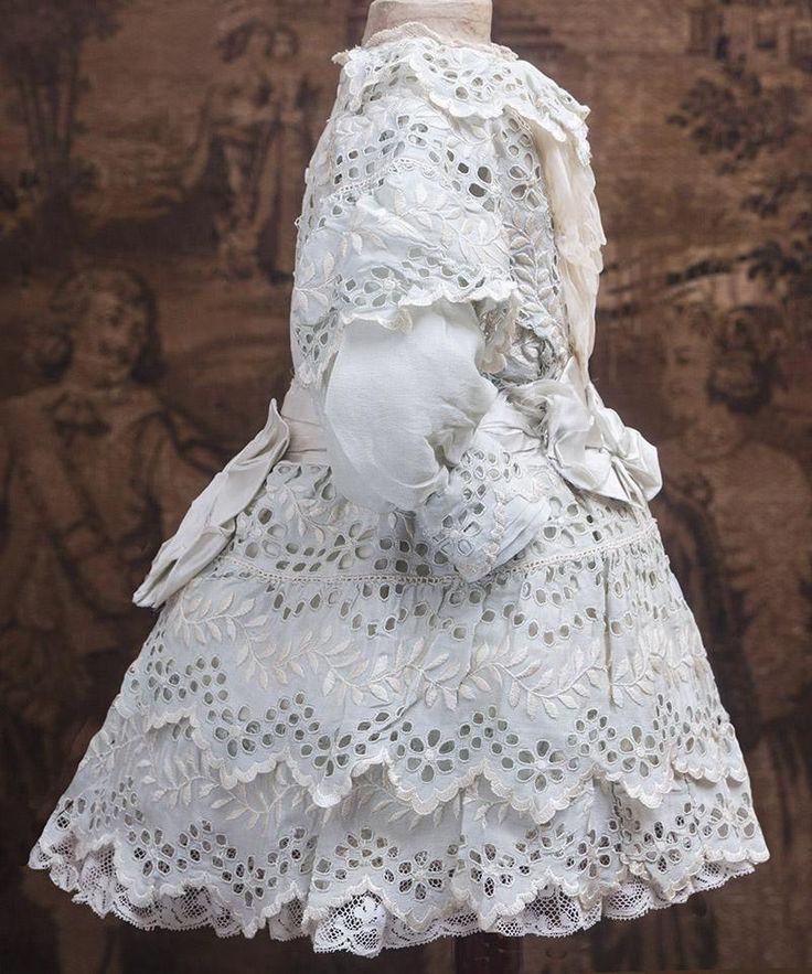 Wonderful Antique French Original Aqua Silk Dress for Jumeau Bru from respectfulbear on Ruby Lane