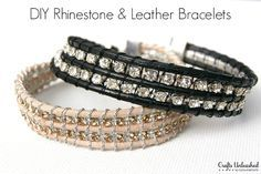 DIY Rhinestone and Leather Bracelet Tutorial - CraftsUnleashed.com