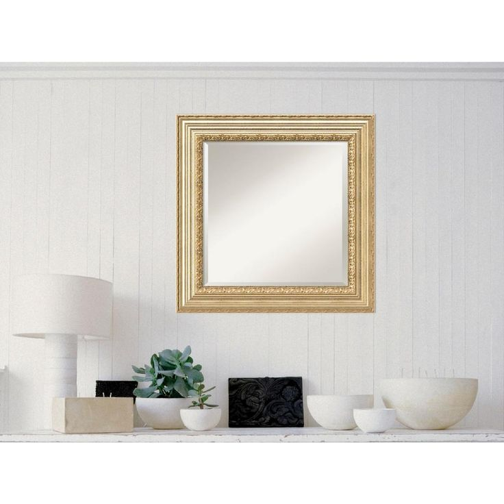Victorian Champagne Wood 27 in. W x 27 in. H Traditional Framed Mirror