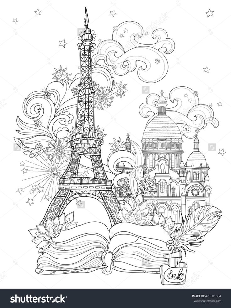 Zen Art Stylized Eiffel Tower Hand Drawn Vector Illustration From Story MagicSketch For Poster Children Or Adult Coloring Pages