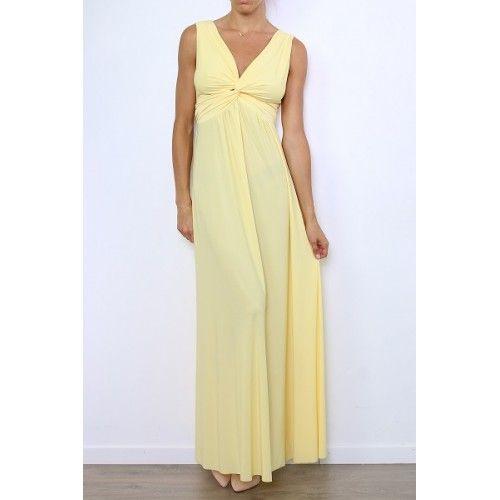 Vestido Largo Amarillo Escote Cruzado | Suen-Vestidos de fiesta