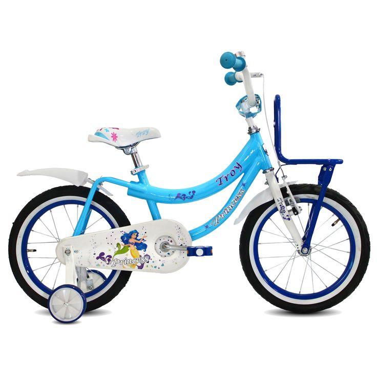 """Troy Kinderfiets Princess blauw 16"""" Blauw  Description: Deze mooie blauw/witte Troy Princess 16 inch kinderfiets is geschikt voor kinderen van 4 tot 6 jaar. Deze Princess fiets is werkelijk een topper. De fiets is gedecoreerd met de alom bekende Princess figuren en het stevige stalen frame zorgt dat de fiets stevig is en tegen een stootje kan. De terugtraprem in het achterwiel zorgen ervoor dat je kind veilig kan remmen en tot stilstand kan komen. De zijwieltjes zorgen voor ondersteuning en…"""