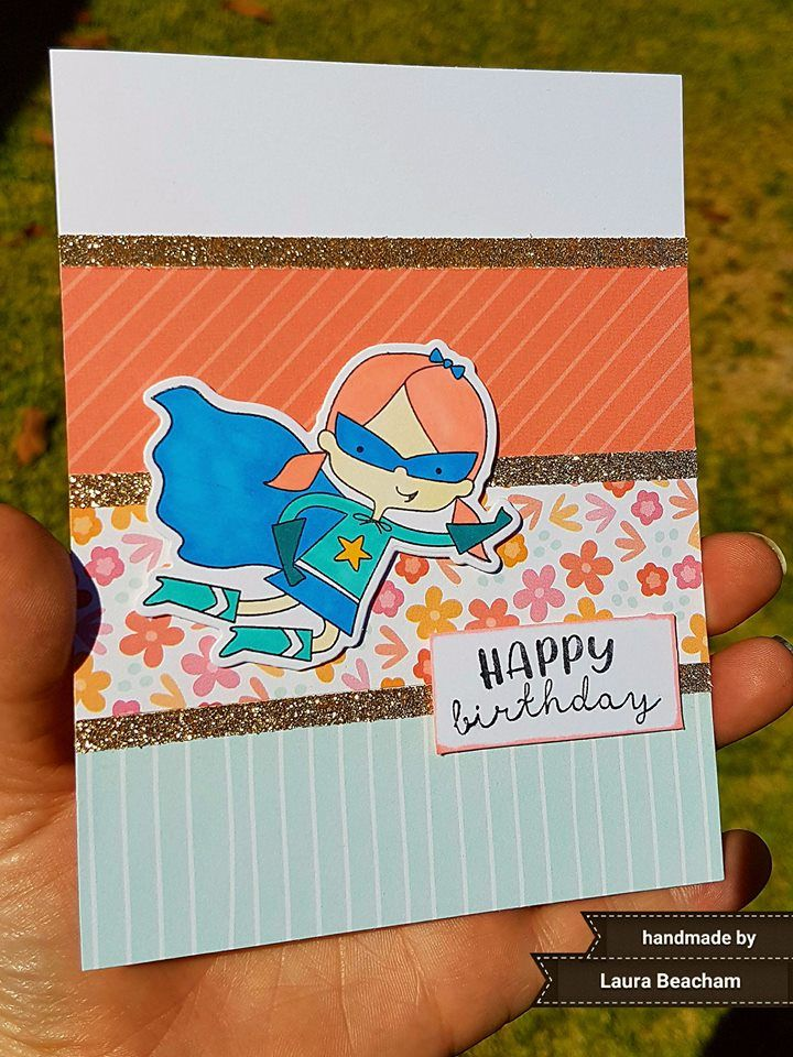 Super Girl Happy Birthday Card: CTMH Super Girl Stamp + Thin Cuts