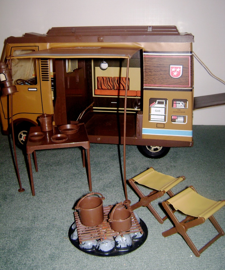 Big Jim's Camper, it's interesting how basic toy molds were used for different lines. This camper in orange and different graphics became Barbie's Country Camper!