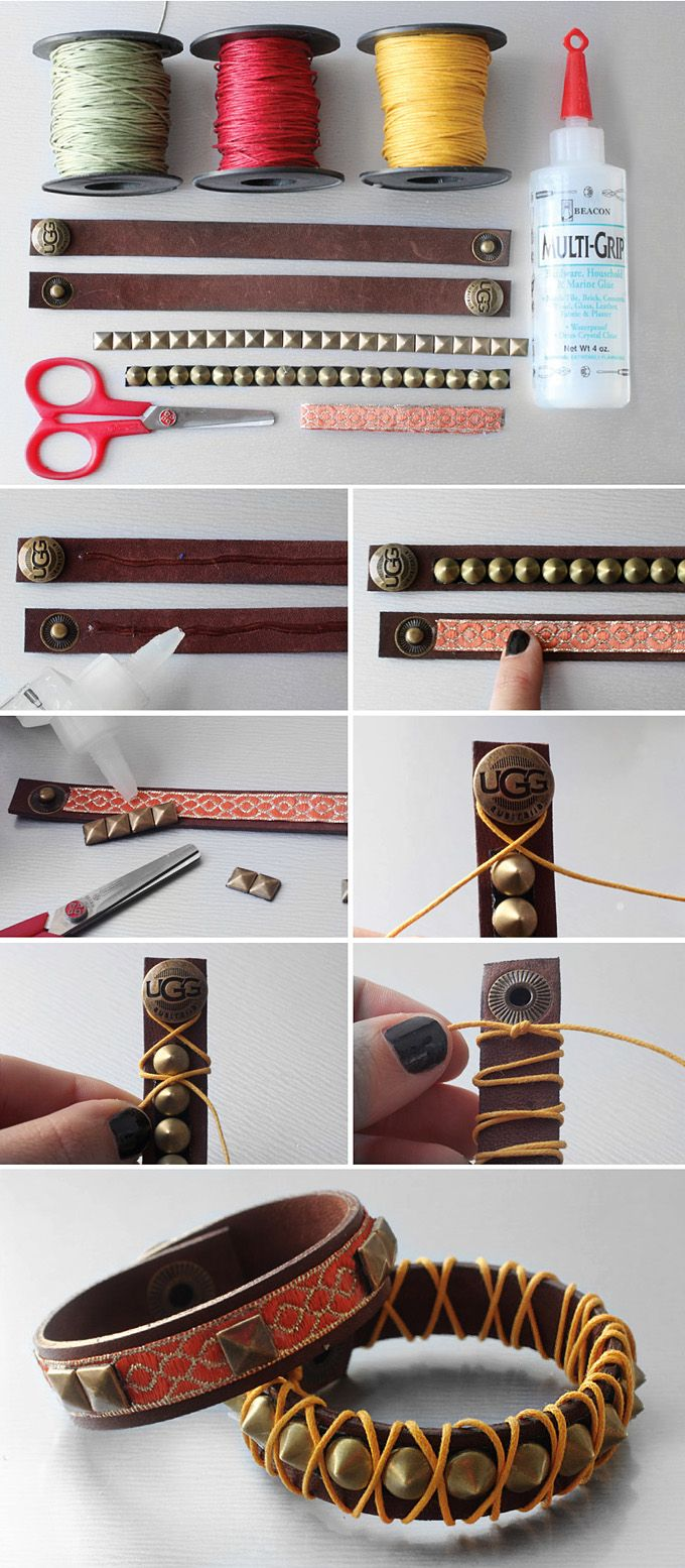 Brccialetti di cuoio personalizzati. DIY Fai da te.