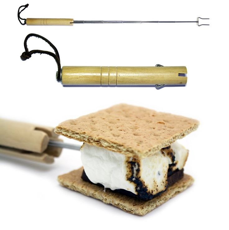"Marshmallow Roasting Sticks - Telescoping Roasting Forks - Must Have Camping Gear for the Family - Smores Campfire Roasting Stick - Stainless Steel Fork Extendable to 28"" - Barbecue Hot Dogs - Protect Kids From the Fire with an Extending Utensil - 2 Prong Fork Fully Collapses Into a High Quality Wood Handle - Velcro Belt Loop Pouch for Storage (1 Stick Pack)"