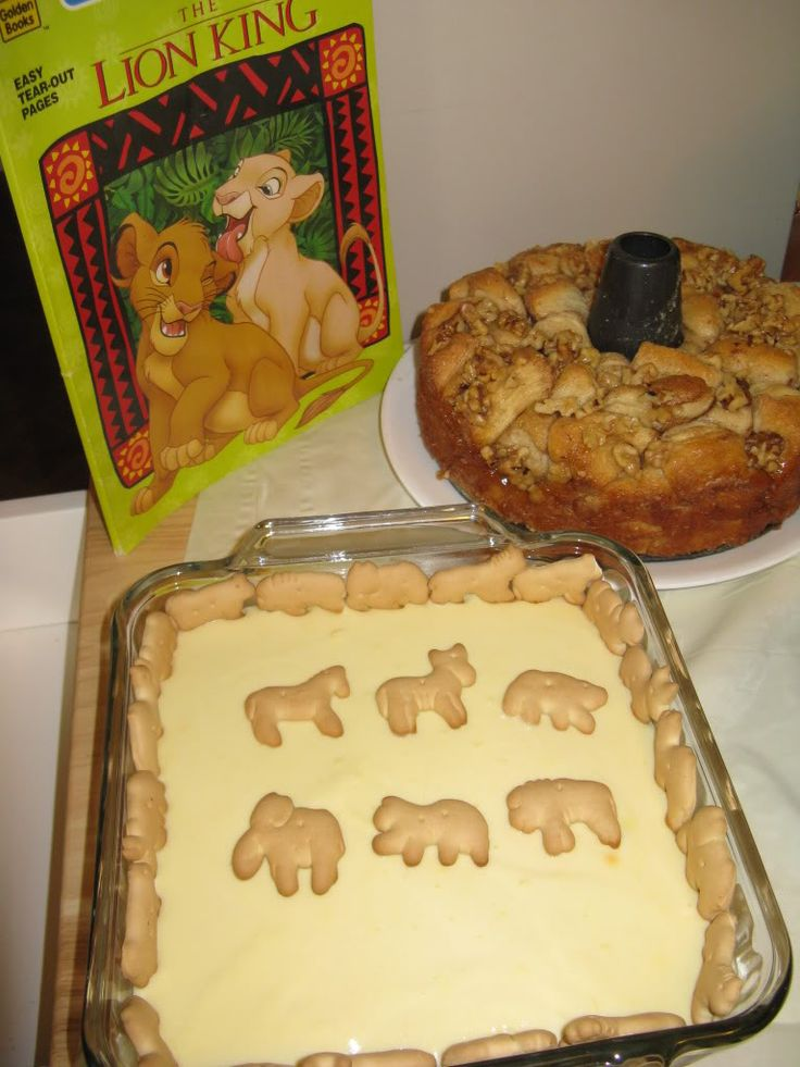 Lion King family movie night. Banzai BBQ, Kiara's corn bread, Simba's Slaw and Pumbaa's Potatoes, Rafiki's Monkey Bread and Banana Pudding with Animal Crackers.  Other Ideas: Wildebeast Steaks, Forest Broccoli Trees