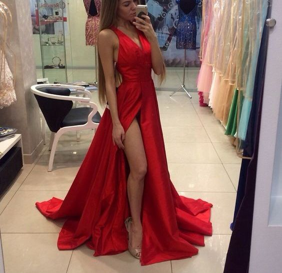 Simple Prom dresses, Elegant prom dresses, http://www.storenvy.com/products/17331900-red-off-shoulder-prom-dresses-2016-long-prom-dresses-simple-prom-dresses