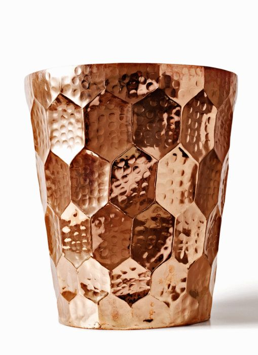 Eclectic Hex Champagne Bucket in Copper by Tom Dixon / laundry basket & trash storage ideas