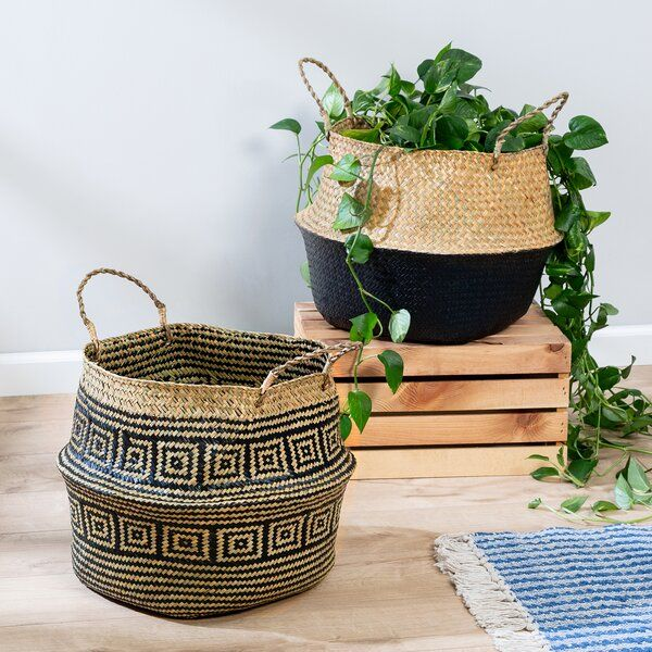 2 Piece Belly Rattan Basket Set In 2020 Belly Basket Seagrass Belly Basket Rattan Basket