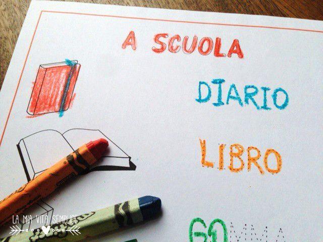 Scheda di prescrittura per bambini di 5-6 anni per esercitarsi a scrivere. Esercizio con parole tratteggiate: diario, libro, gomma, fogli, matita, penna.