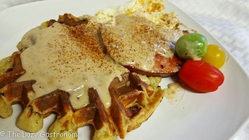 Savory Potato Waffles with Ham and Gravy | The Lazy Gastronome