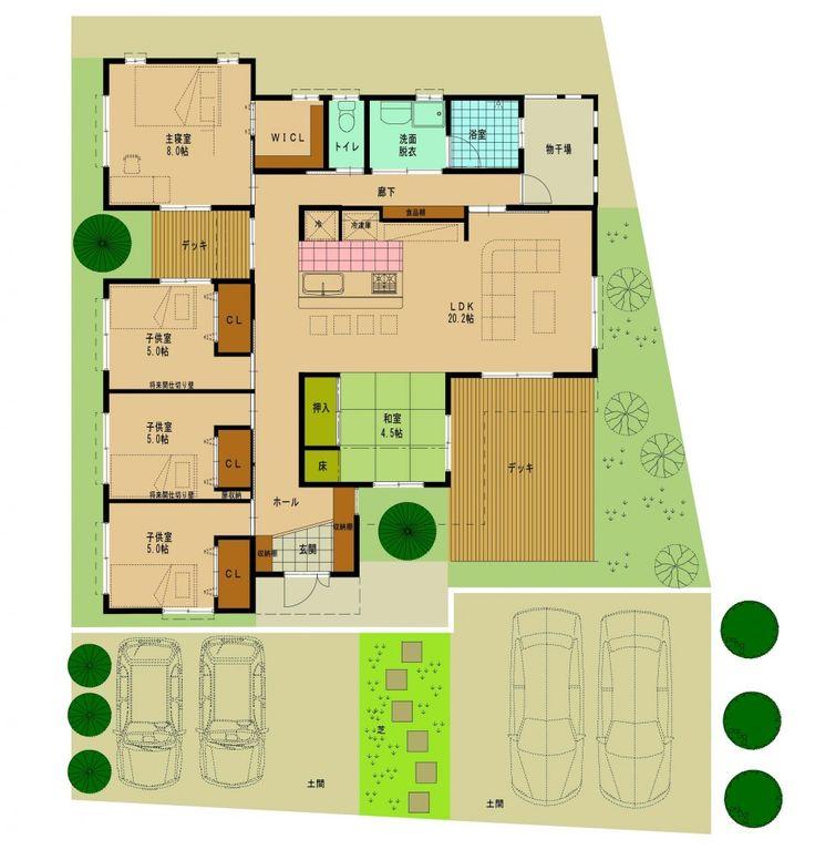 南城市大里・S様邸 シンプルな間取りで構成された5LDK、外部デッキを2つ持つのも珍しい平屋 30坪を超える大きめの住宅ですが、回遊動線を使ってどこにいても どこからでも家族の顔が見えます。