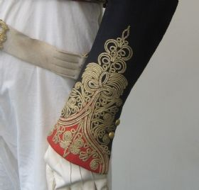 Cuff detail of uniform belonging to Lt Col John Morgan Ley, Madras Artillery spaning the period of his service from 1815 to 1840`s.
