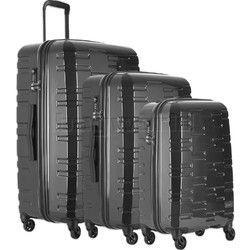 Antler Prism Hi-Shine Hardside Suitcase Set of 3 Charcoal 00109, 00123, 00126 with FREE GO Travel Luggage Scale G2008