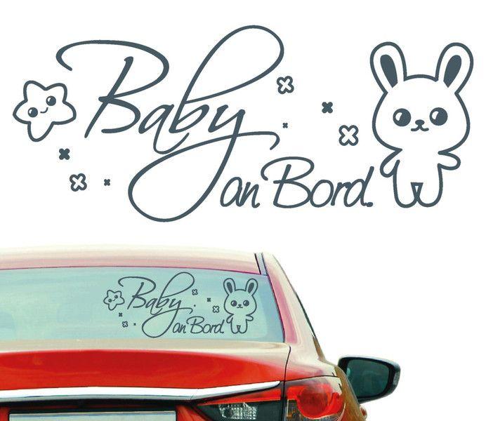 Autoaufkleber Baby an Bord mit Hasen und Sterne von wandtattoo-loft via dawanda.com