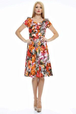 Rochie imprimata flori cu volan din decolteu pana in talie.