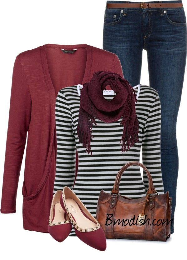 Burgundy cardigan with stripe top