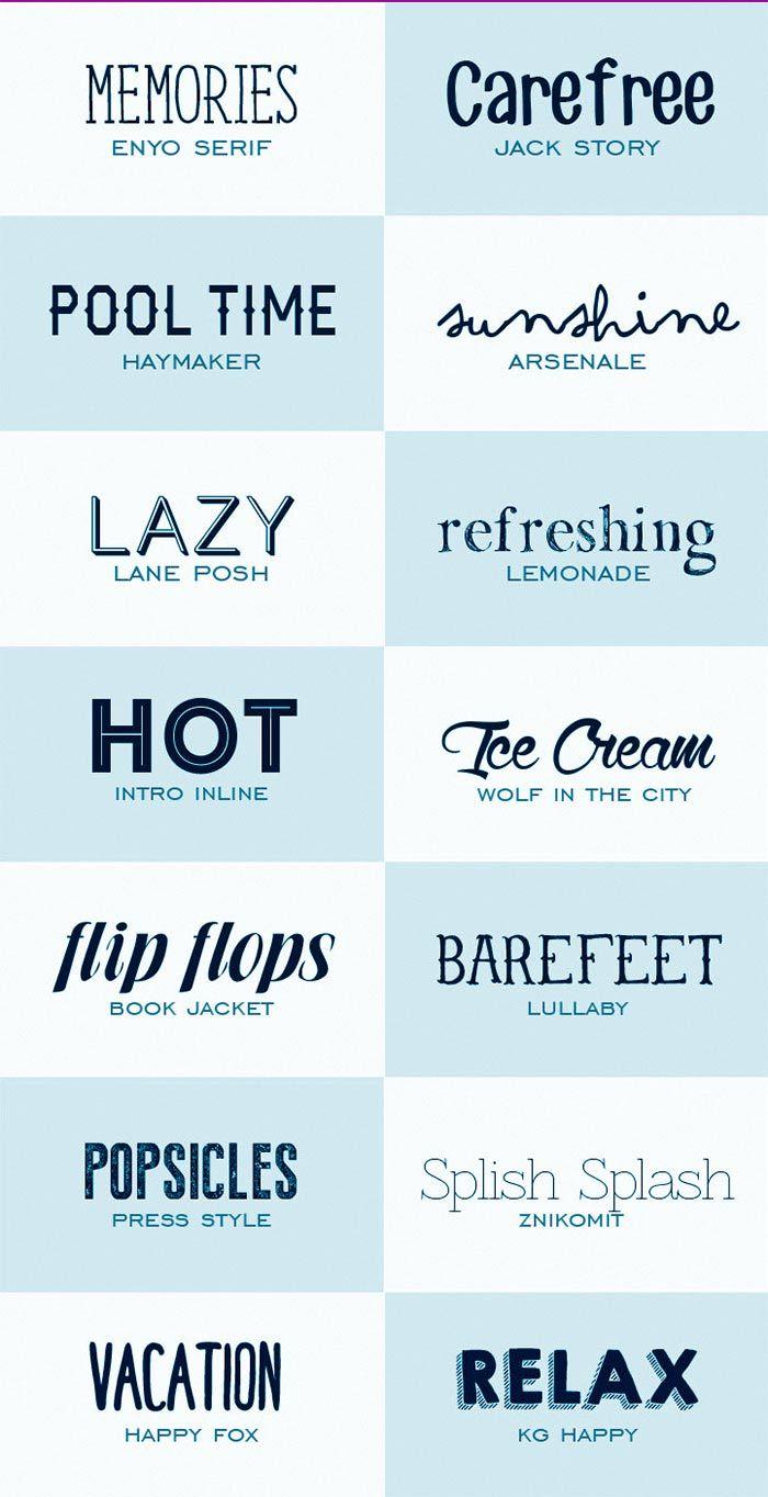 Fuentes tipográficas de estilo veraniego de descarga gratis.