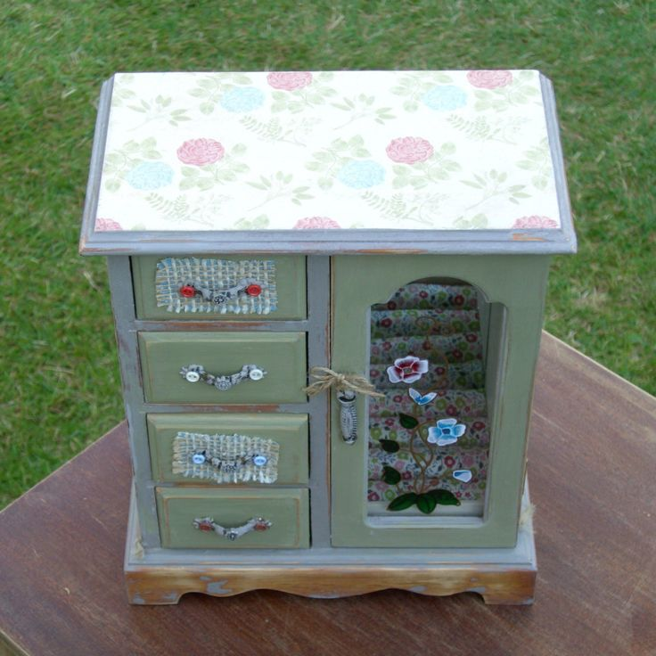 shabby chic jewellery box farmhouse green rustic upcycled  hand painted hand…