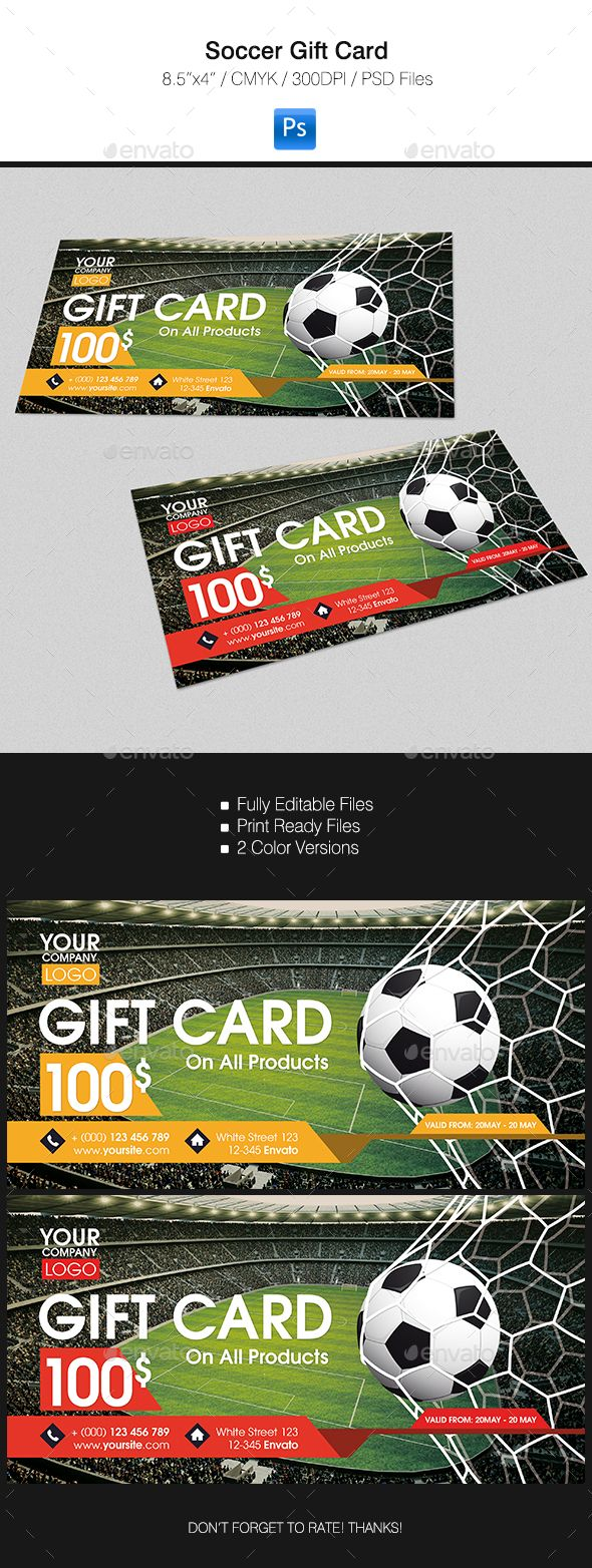 Gift Card #design Download: https://graphicriver.net/item/soccer-gift-card/16469908