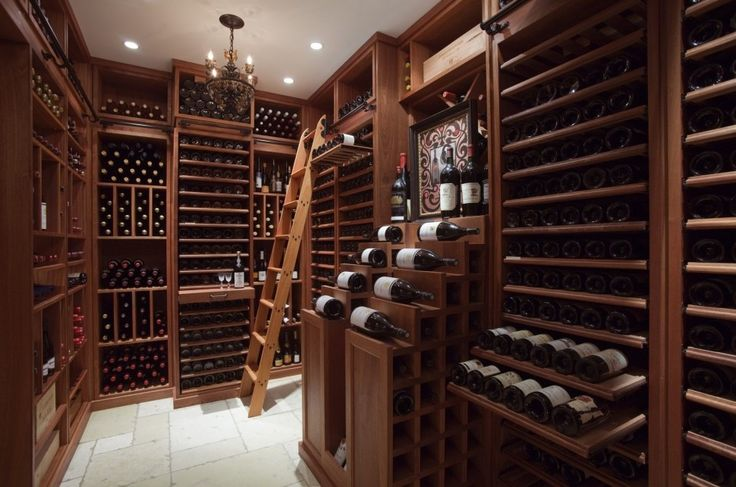 Furniture:Home Rustic Wine Cellar  Natural Crystal Clear Glass Wine  Wood Varnish Moving Ladder  Play Wood Frame Picture  Black Glass Bottle Wine  Bronze Chain Four Crystal Lamp Chandelier  Wooden Rack Storage Wine Amazing Wine Cellar Racks Inspirations