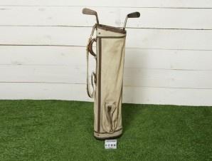 Sacca da Golf in tessuto beige completa di mazze da golf vintage americana