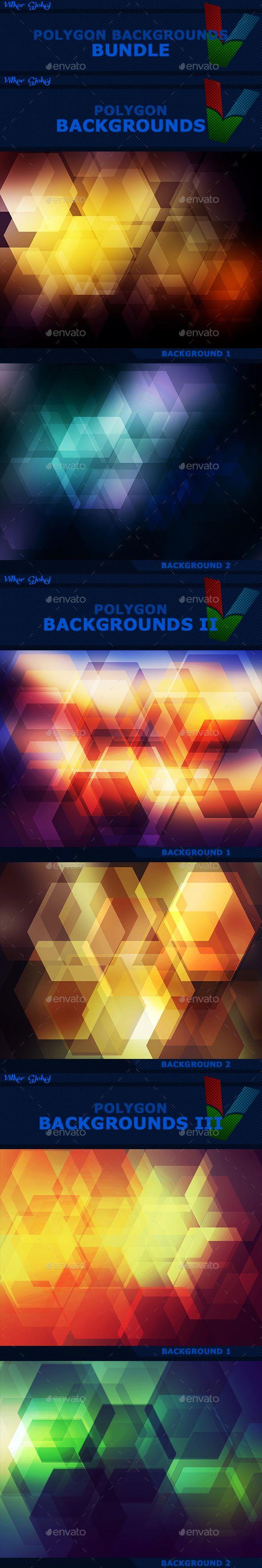 15 Polygon Backgrounds BUNDLE
