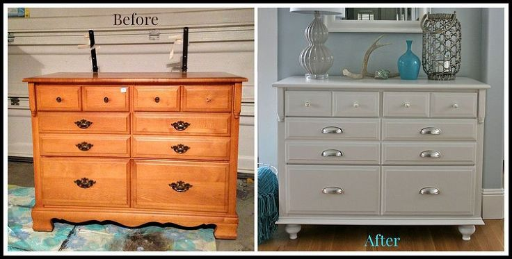 Hometalk :: How to Add Feet to a Dresser - Before and After . They also added trim to the bottom and then painted, and added new hardware.