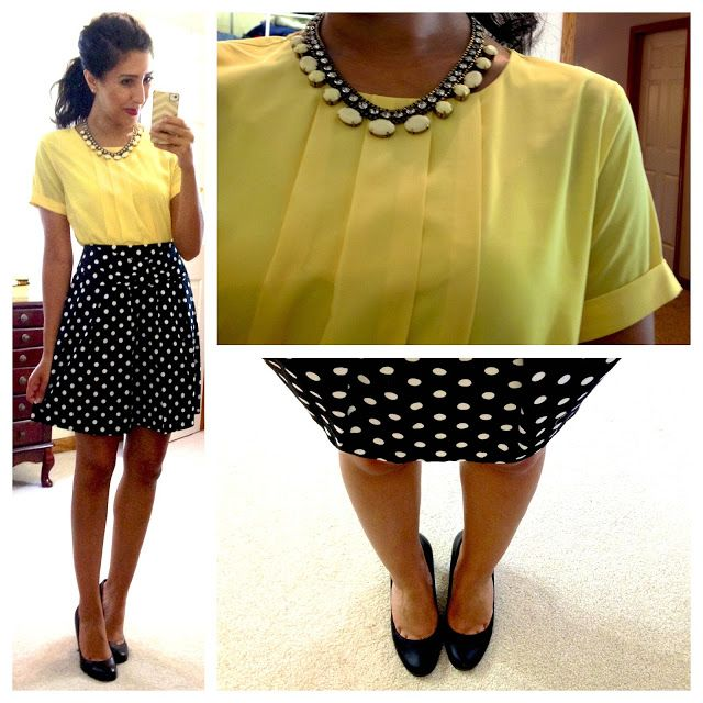 I love the black, white, and yellow and the polka dots.  CP top (in yellow), F21 polka dot skirt, Jessica Simpson pumps, necklace via Burlington Coat Factory