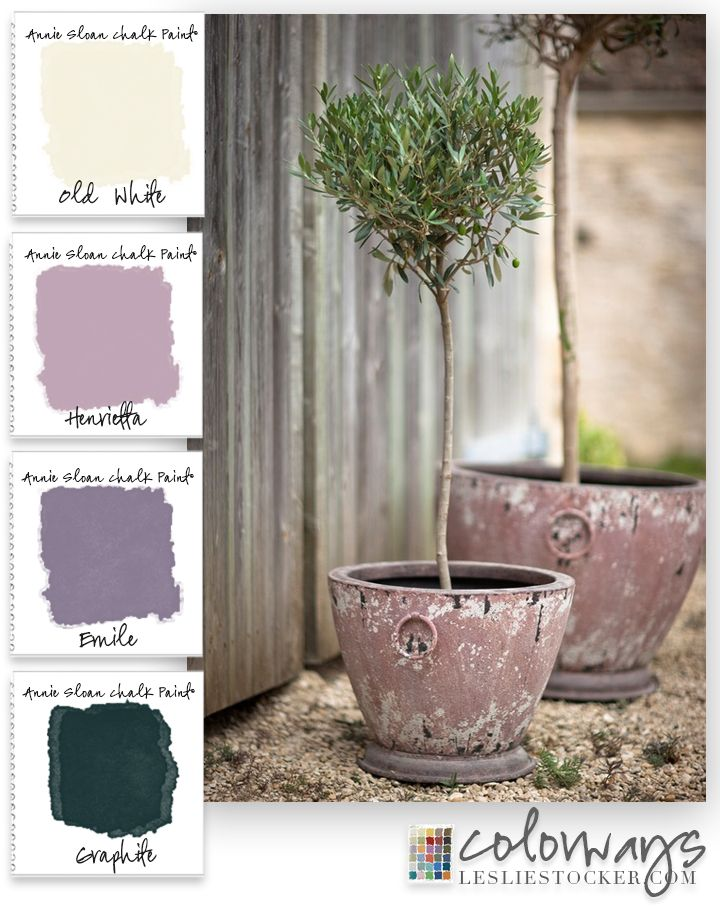 COLORWAYS @ Leslie Stocker » Pink in the Garden. Outdoor planters can add color by painting them with Annie Sloan Chalk Paint®. Graphite, Emile, Henrietta, Old White