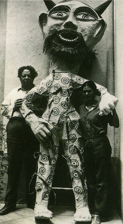 """Diego and Frida with a """"Judas"""" of their collection of these figures made by…"""