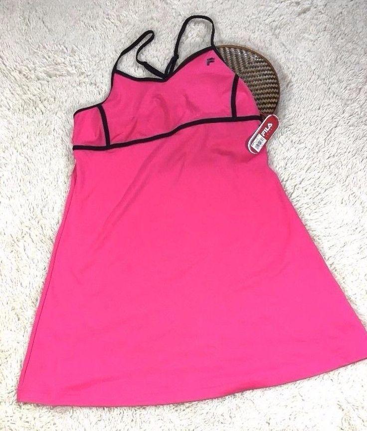 Fila Tennis Dress XL Pink Stretch Bra Mesh Racerback Adjustable Spaghetti Straps #FILA #RacerbackSpaghettiStraps #tennisdress #idagemjudis #shopsmall #exerciseclothing