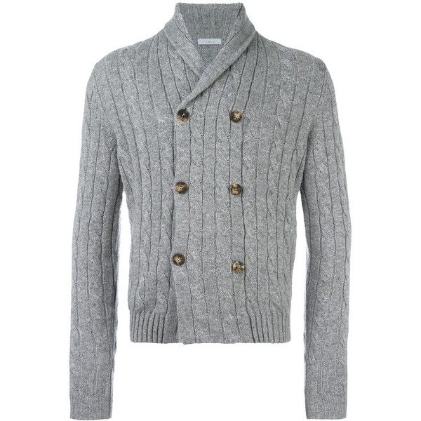 Malo cable knit buttoned cardigan ($1,188) ❤ liked on Polyvore featuring men's fashion, men's clothing, men's sweaters, grey, mens cardigan sweaters, mens cashmere sweaters, mens gray sweater, mens grey sweater and mens cashmere cardigan sweater