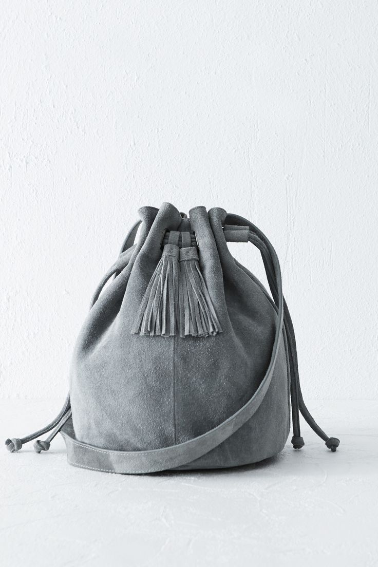 All | Grey Suede Tassle Duffle Bag | Warehouse