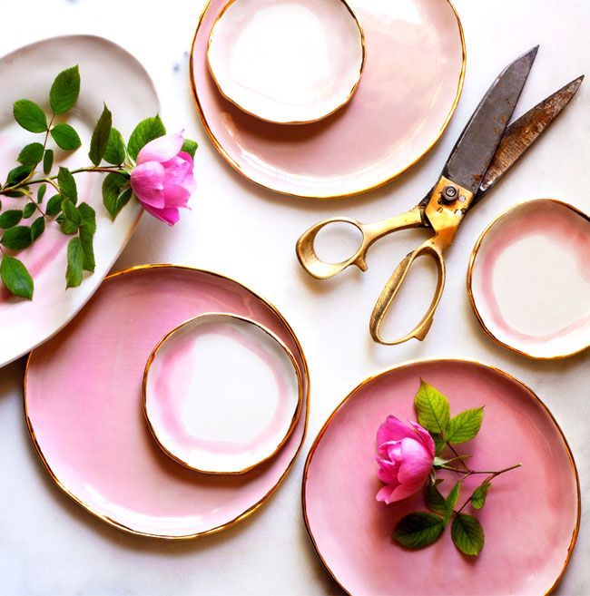 Dishes in watercolor pink with golden contours by Suite One Studio