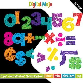 Clipart - Decorative Font, Sketchy Rainbow Numbers Fill   What you get:   -Numbers 1-10 - Basic mathematical symbols (plus sign, minus sign, times sign, divide sign, equal sign, cent sign, dollar sign, less than sign, more than sign, percent sign, decimal sign, comma, number sign and long division sign)  -Black lined