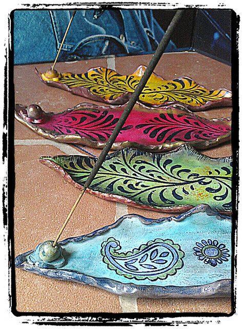 Hippie Stye Incense Holder, BOHO Design Incense Tray, Polymer Clay Decor on…