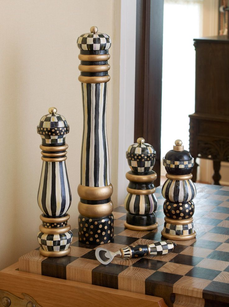 Courtly Check Salt & Pepper Mills. What could be more fun on your table?!