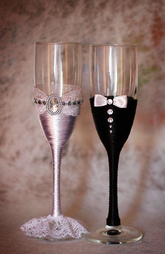Copas de boda elegante en un tallo largo se ejecutan en estilo de la novia y novio están decoradas con pedrería, encaje. ¡Además muy agradable a la decoración de tu boda! ¡Hecho con el alma y la inspiración!  envío $ 35-10-20 días (Express) 17 $-20-60 días