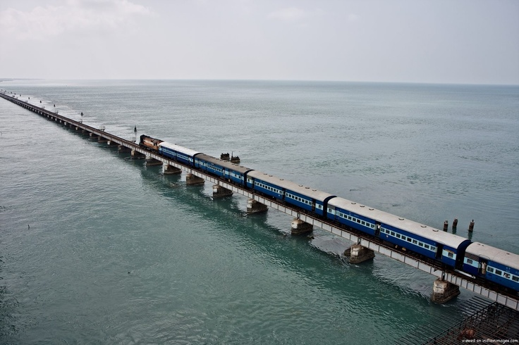 Train over Pamban Bridge · rameshwaram express crossing the pamban bridge