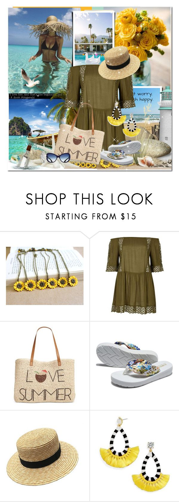 """SUMMER"" by bellamonica ❤ liked on Polyvore featuring River Island, Style & Co. and BaubleBar"